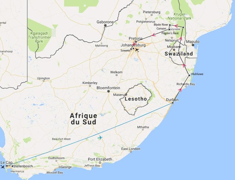 afrique du sud - circuit 2020 - itinéraire