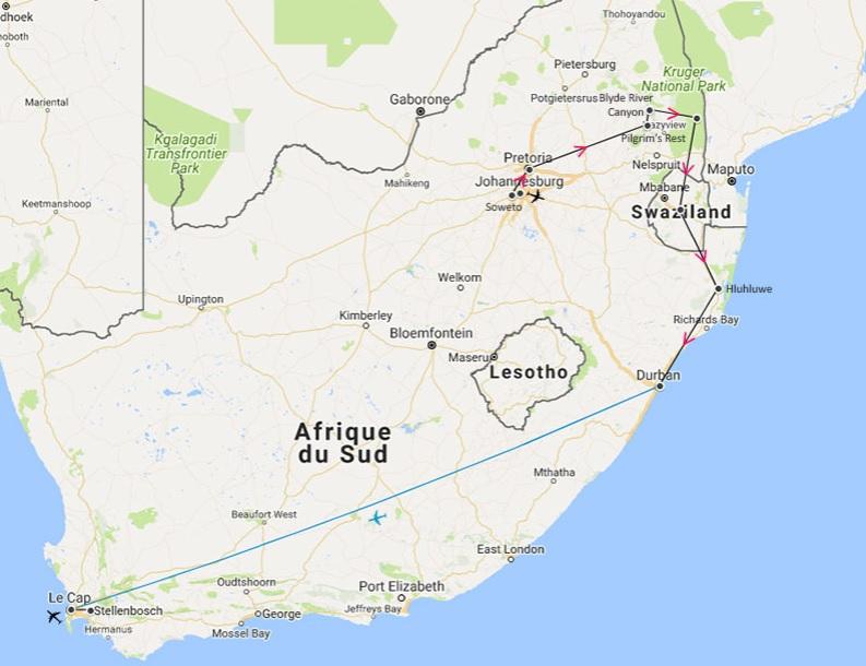 carte - Afrique du Sud - Circuit