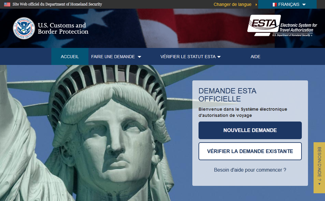 Site ESTA - Visa USA