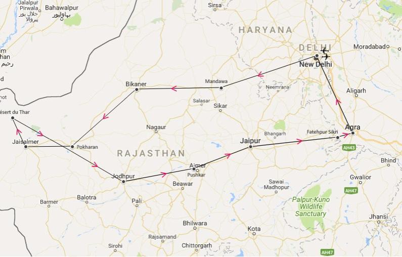 inde du nord - cricuit - itinéraire