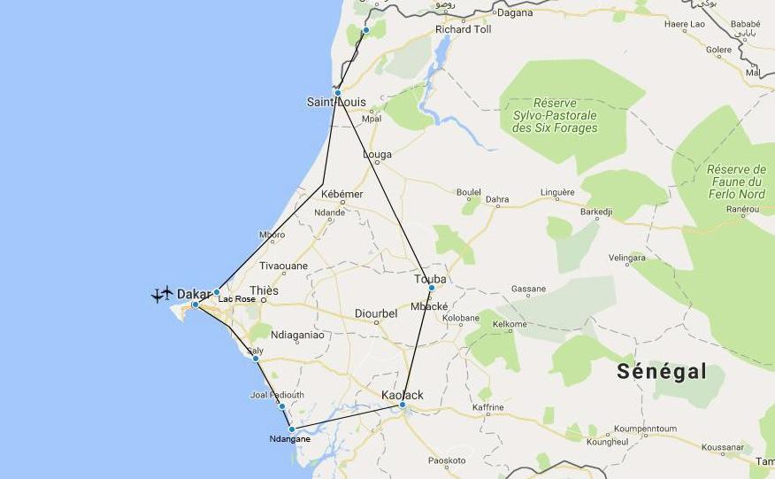 Cicruit Sénégal 2019 - itinéraire