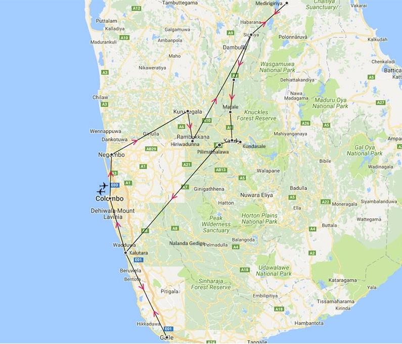 sri lanka - circuit - itineraire