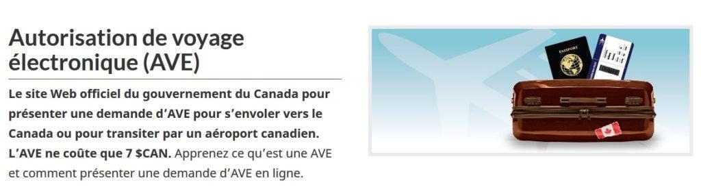 visa Canada (AVE)